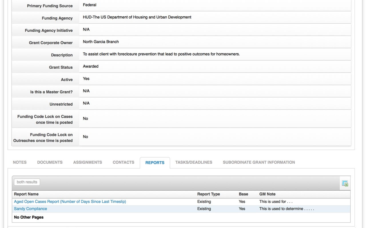 grant management reports screenshot